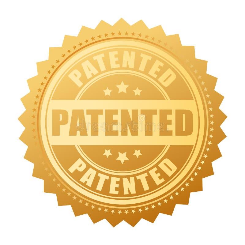 Ilustração patenteada ouro do vetor do selo ilustração stock