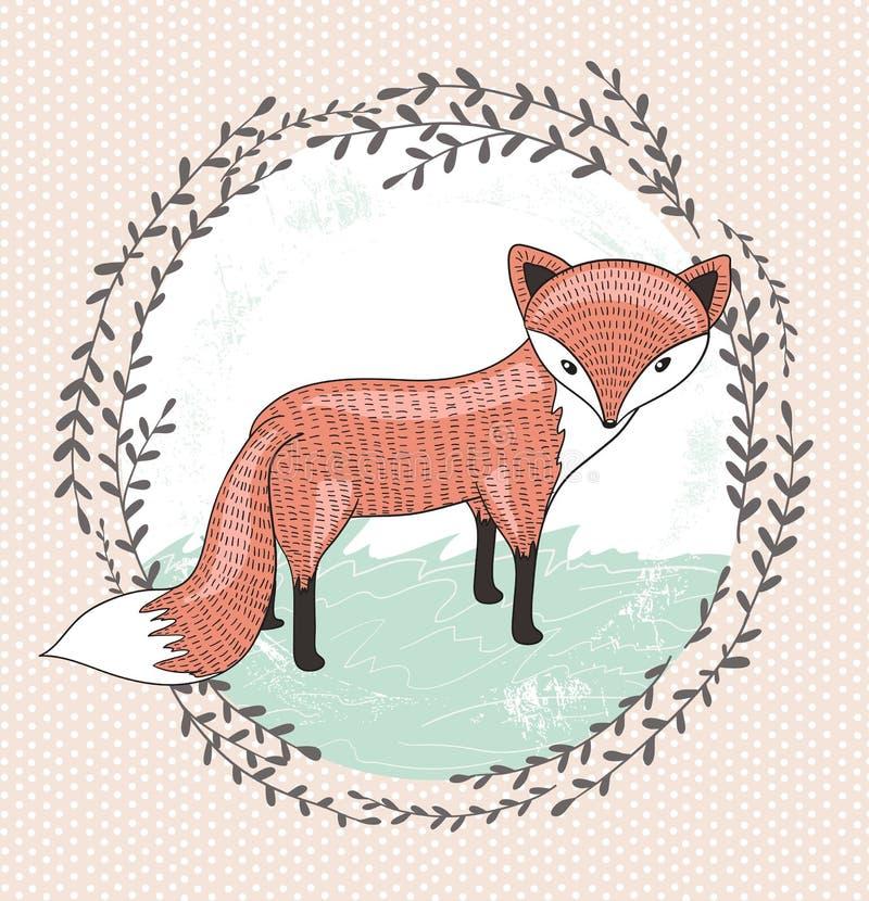 Ilustração pequena bonito da raposa para crianças. ilustração royalty free