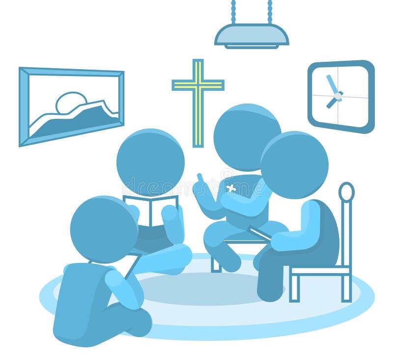 Ilustração pequena da cristandade dos grupos do estudo da Bíblia ilustração royalty free