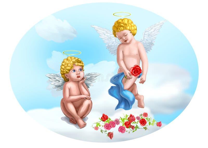 Ilustração pequena de dois anjos ilustração do vetor