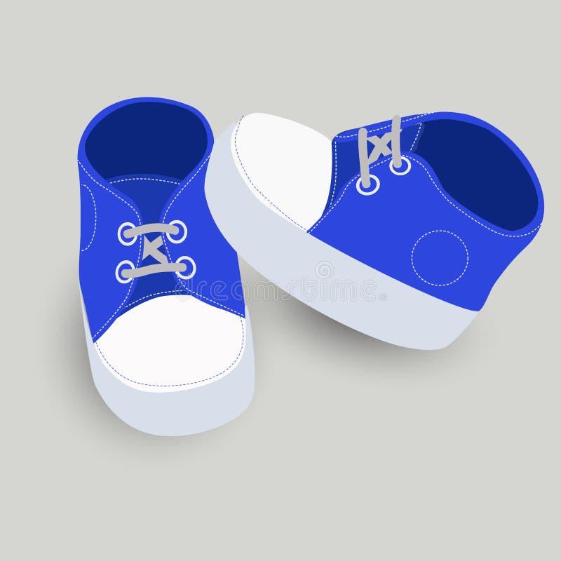 Ilustração pequena do vetor das botas ou das sapatas dos azuis bebê ilustração do vetor