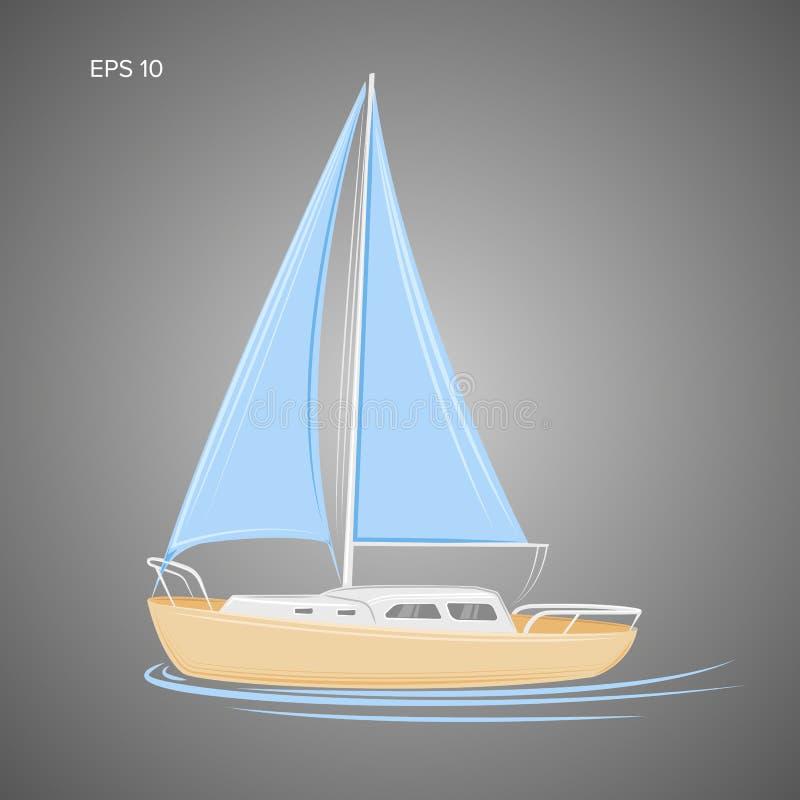 Ilustração pequena do vetor do veleiro Bote com vela ilustração royalty free
