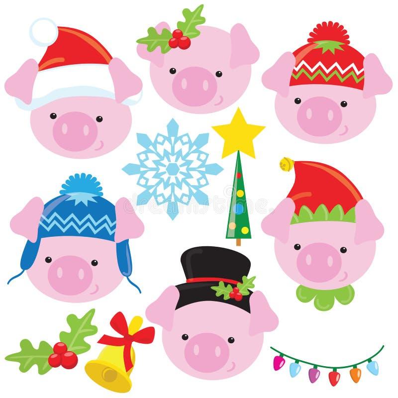 Ilustração pequena engraçada dos desenhos animados do vetor da cara do porco do Natal ilustração stock