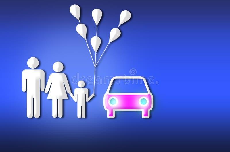 Ilustração pequena feliz da família ilustração royalty free