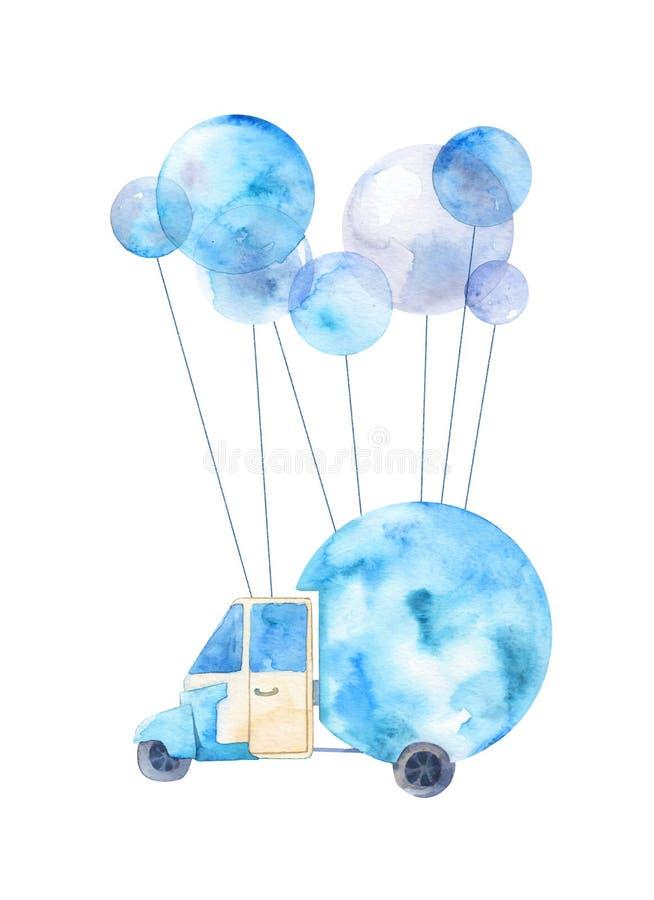 Ilustração pintada aquarela de um carro com balões imagem de stock royalty free