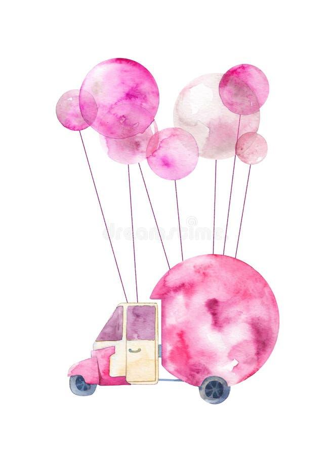 Ilustração pintada aquarela de um carro com balões imagens de stock royalty free