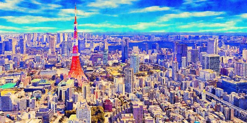 Ilustração pintado à mão da arte da aquarela colorida: arquitetura da cidade panorâmico da cidade do Tóquio, Japão ilustração royalty free