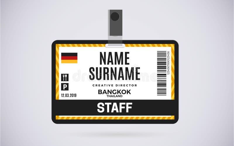 Ilustração plástica do projeto do vetor do crachá do cartão da identificação do pessoal ilustração do vetor