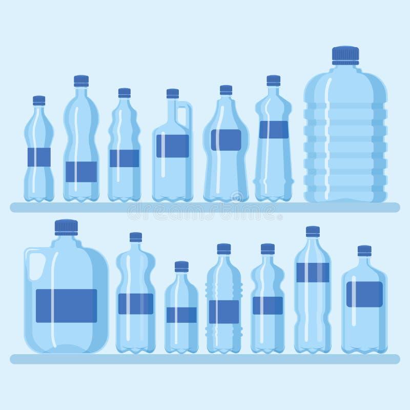 Ilustração plástica do vetor do grupo da garrafa Tamanhos diferentes de recipientes dos desenhos animados para a água e os outros ilustração royalty free