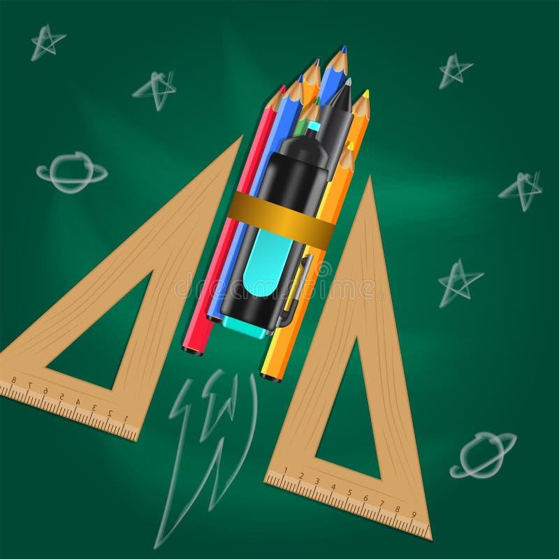 Ilustração plana com a régua do triângulo, estacionária na tabela com rabiscar o desenho da mão ilustração royalty free