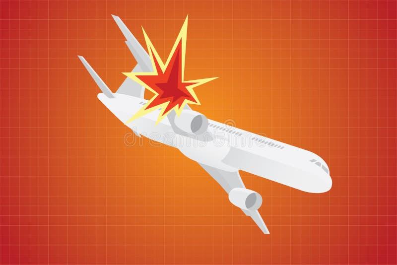 Ilustração plana do desvio de avião do desvio de avião com pistolas da arma ilustração stock