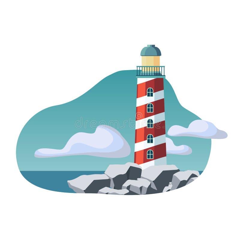 Ilustração plana do edifício do farol Fundo marinho e oceânico Suporte de torre na costa rochosaIlustração vetorial ilustração stock