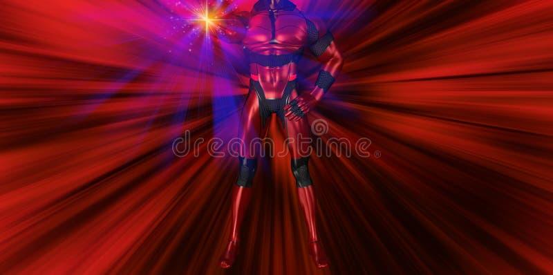 Ilustração poderosa do efeito da carcaça do período do super-herói ilustração stock