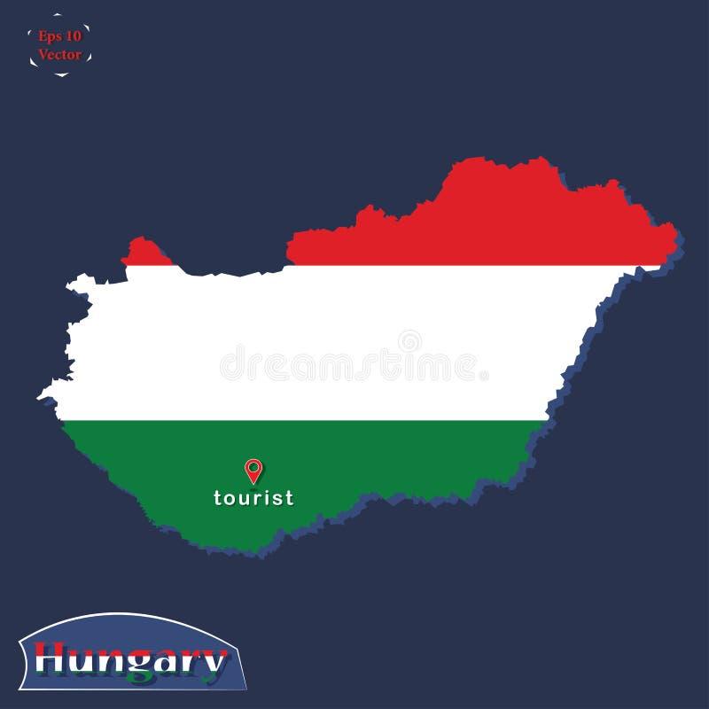 A ilustração política do mapa de Hungria coloriu nas cores da bandeira nacional Projeto liso com olhar 3D - você está aqui sinal  ilustração do vetor