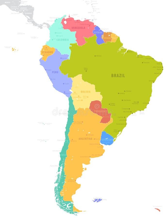 Ilustração política do vetor do mapa de Ámérica do Sul isolada no whit ilustração royalty free