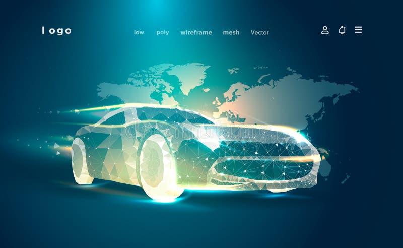 Ilustração poli da arte do triângulo do carro baixa Bandeira da propaganda da indústria automóvel automóvel 3D no fundo do mapa ilustração stock