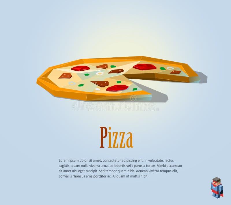 Ilustração poligonal de PrintVector da pizza, ícone moderno do alimento, baixa culinária poli, italiana ilustração royalty free