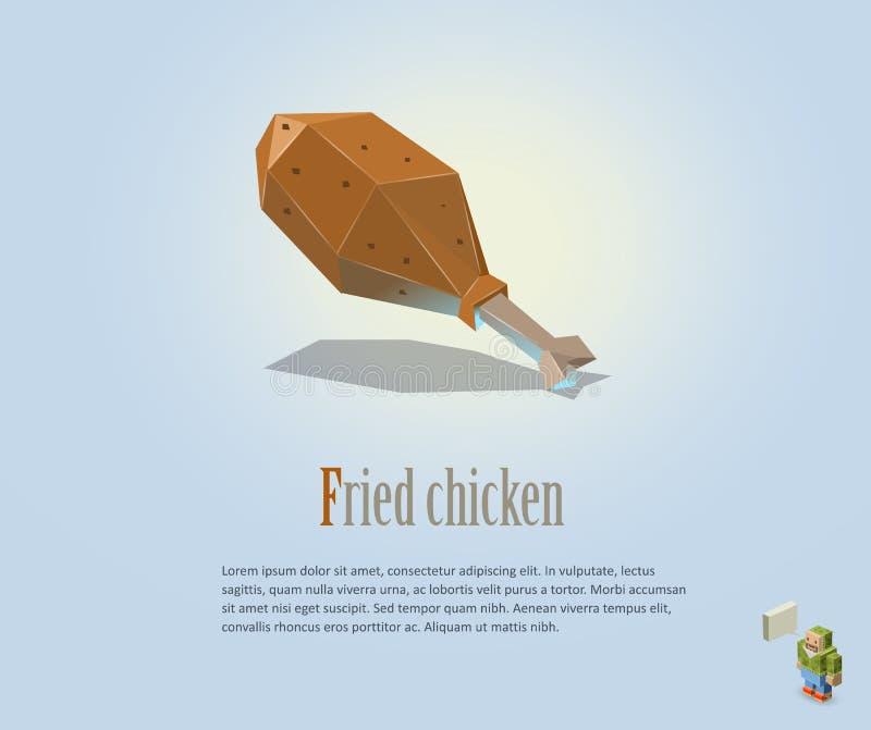 Ilustração poligonal de PrintVector do pé de frango frito, ícone moderno do alimento, baixo estilo poli ilustração do vetor