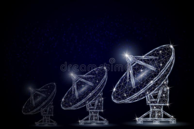 Ilustração poligonal do estilo da arte do vetor do equipamento de telecomunicações ilustração do vetor