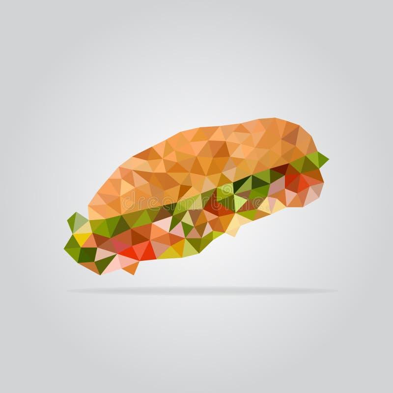Ilustração poligonal do sanduíche ilustração stock