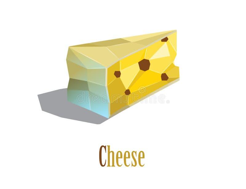 Ilustração poligonal do vetor do queijo ilustração do vetor