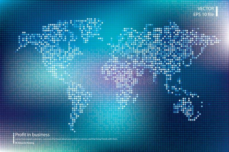 Ilustração pontilhada do vetor do mapa do mundo Conceito do negócio sobre elementos globais do mapa do mundo Cores azuis da tecno ilustração do vetor