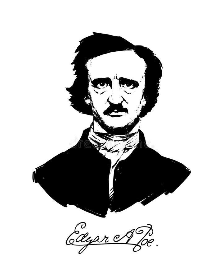 Ilustração por Edgar Allan Poe Retrato de um grandes escritor e poeta americanos Ilustração para uma tatuagem, local, brochura, c ilustração royalty free