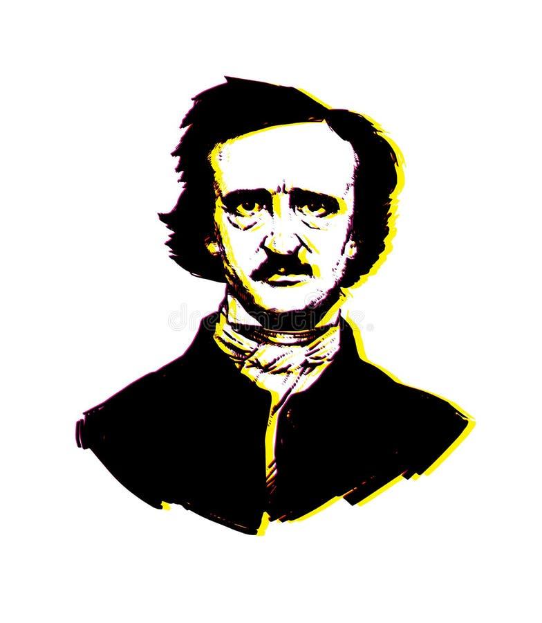 Ilustração por Edgar Allan Poe Retrato de um grandes escritor e poeta americanos Ilustração para uma tatuagem, local, brochura, c ilustração do vetor