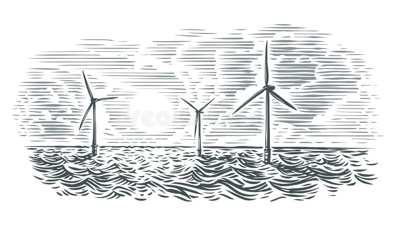 Ilustração a pouca distância do mar das turbinas eólicas Vetor, isolado ilustração do vetor