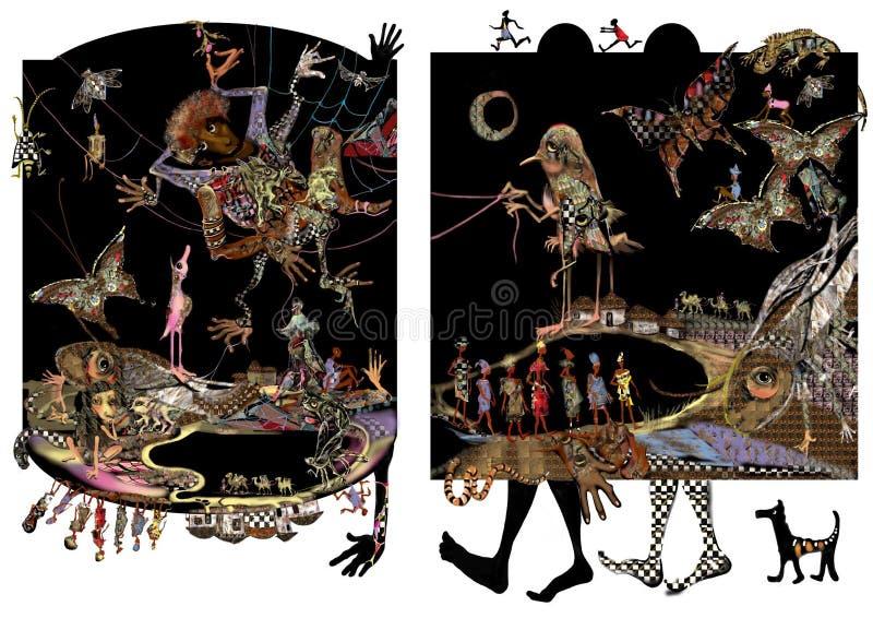 Ilustração, povos, pés e animais africanos ilustração royalty free