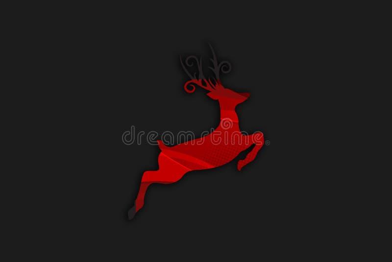 Ilustração preta abstrata dos veados vermelhos ilustração do vetor