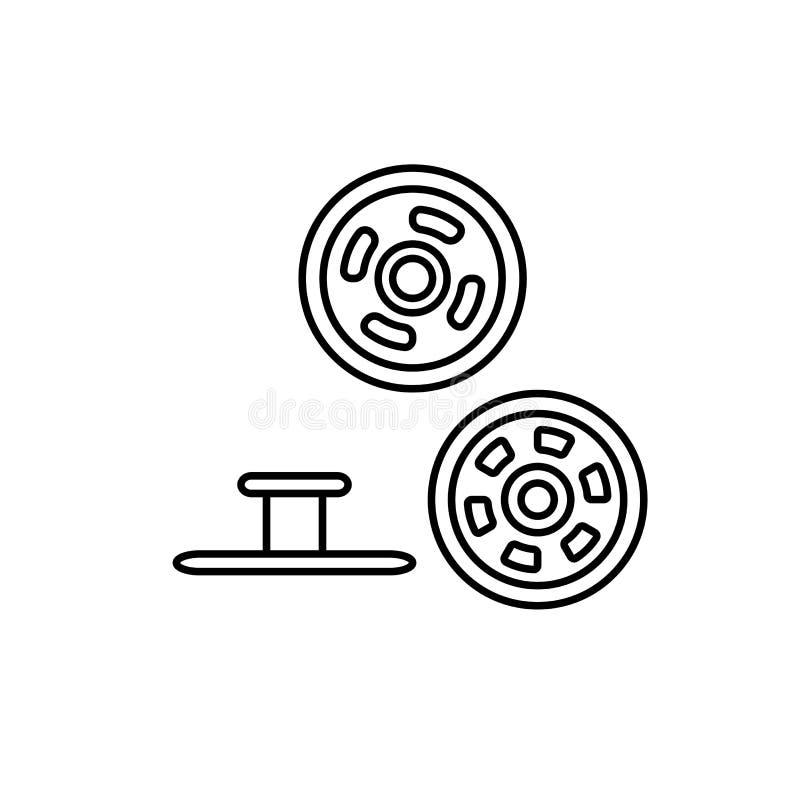 Ilustração preta & branca de botões de pressão do metal Botões da sarja de Nimes do parafuso prisioneiro Linha ícone do vetor Obj ilustração stock