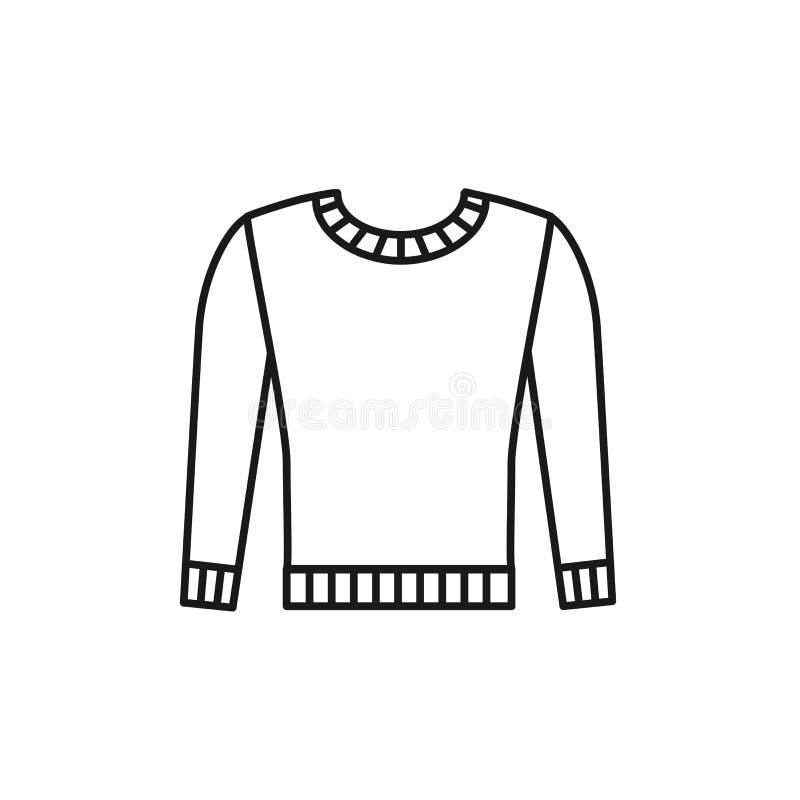 Ilustração preta & branca do pulôver longo morno feito malha da camiseta da luva Linha ícone do vetor de roupa feito a mão do inv ilustração stock