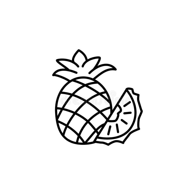 Ilustração preta & branca do vetor do abacaxi & da fatia inteiros Li ilustração royalty free