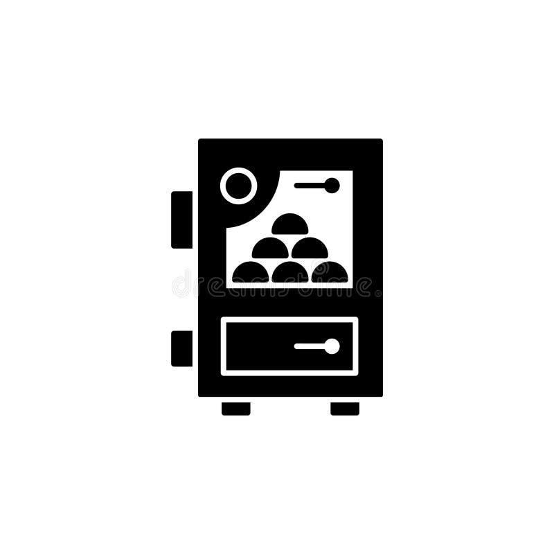 Ilustração preta & branca do vetor da caldeira do combustível contínuo Ico liso ilustração stock