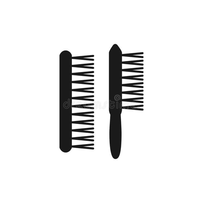 Ilustração preta & branca do vetor da escova espanando de madeira do eliminador Ícone liso do instrumento para o arquiteto, desen ilustração stock