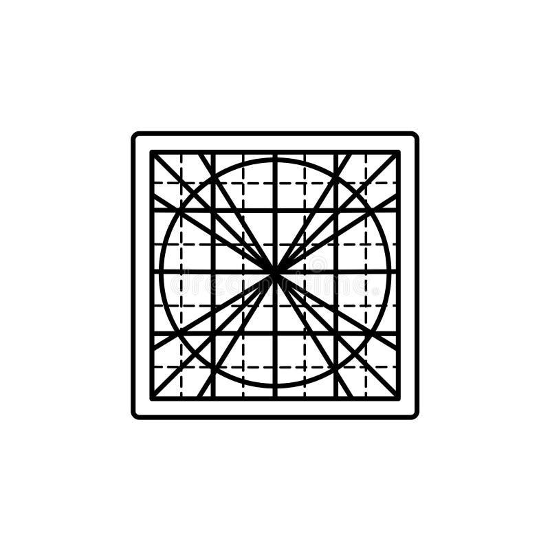 Ilustração preta & branca do vetor da esteira quadrada do corte Linha CI ilustração do vetor