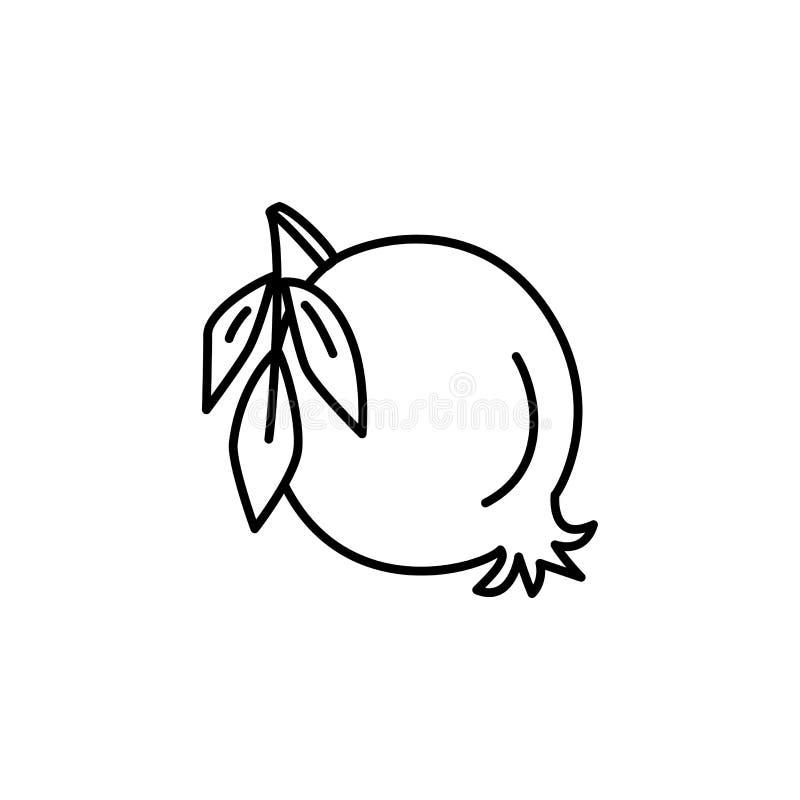 Ilustração preta & branca do vetor da romã orgânica com le ilustração stock