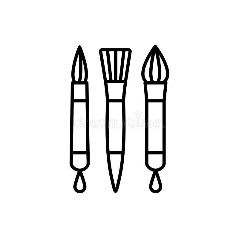 Ilustração preta & branca do vetor de escovas da caligrafia linha mim ilustração stock