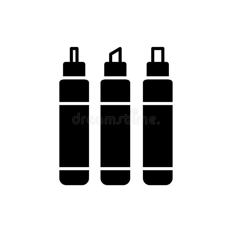Ilustração preta & branca do vetor de marcadores da caligrafia I liso ilustração stock