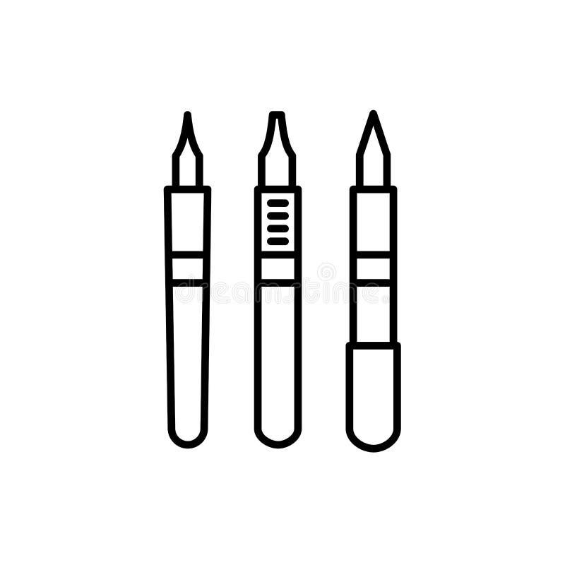 Ilustração preta & branca do vetor de penas da ponta da caligrafia linha ilustração royalty free