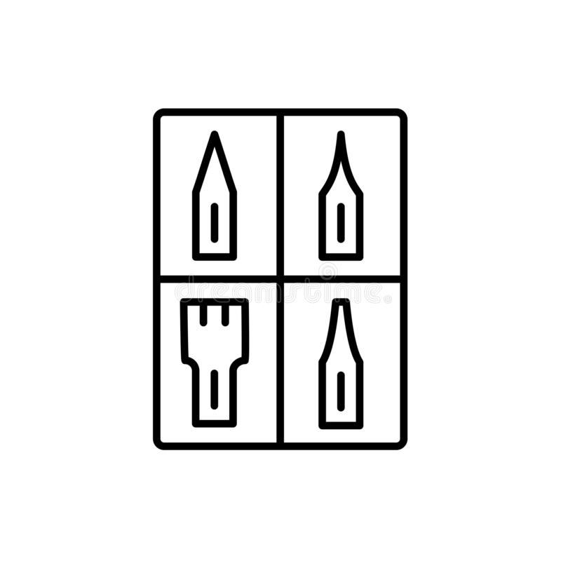 Ilustração preta & branca do vetor do grupo da ponta da caligrafia linha mim ilustração do vetor