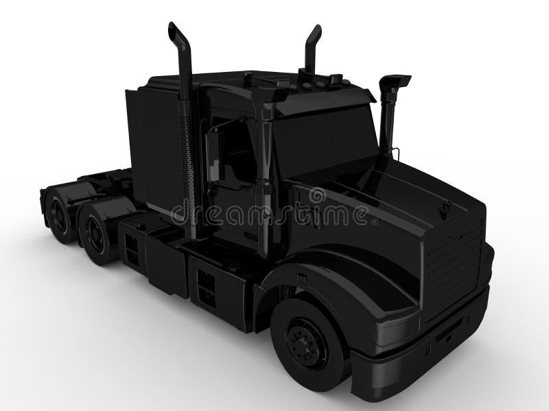 Ilustração preta do caminhão sem um reboque ilustração do vetor