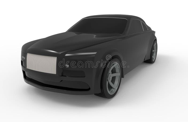 Ilustração preta do carro do luxo 3D ilustração royalty free