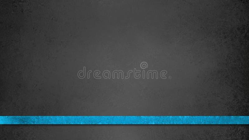 Ilustração preta do fundo do quadro com a listra ou a fita fina elegante da cor azul brilhante com textura do vintage ilustração do vetor
