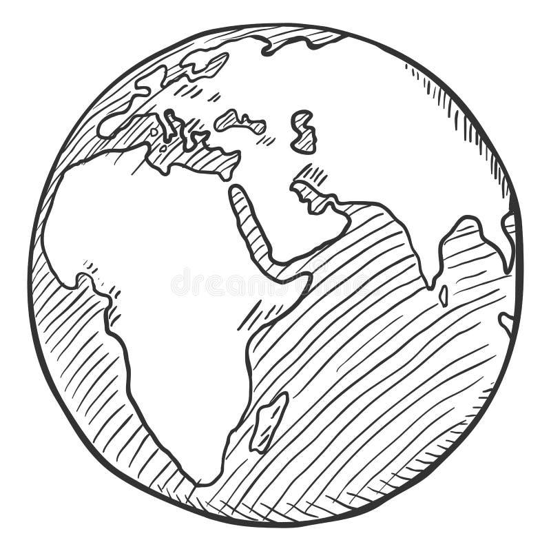 Ilustração preta do globo do esboço do vetor única ilustração stock