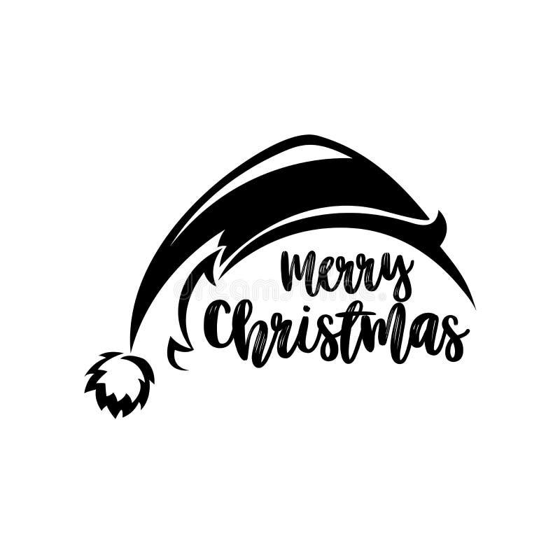 Ilustração preta do vetor do chapéu de Papai Noel ilustração do vetor