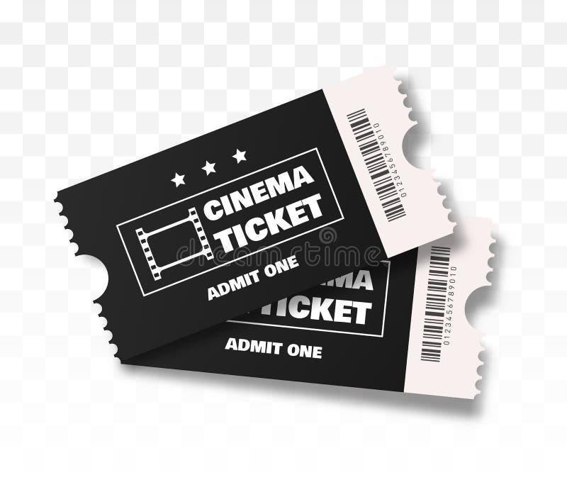 Ilustração preta do vetor de dois bilhetes do cinema ilustração royalty free