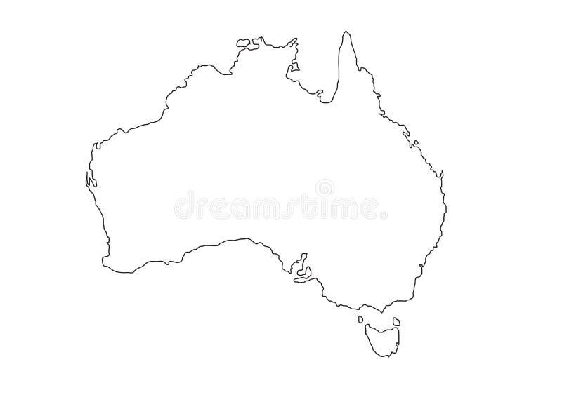 Ilustração preta do vetor do mapa do esboço de Austrália ilustração do vetor