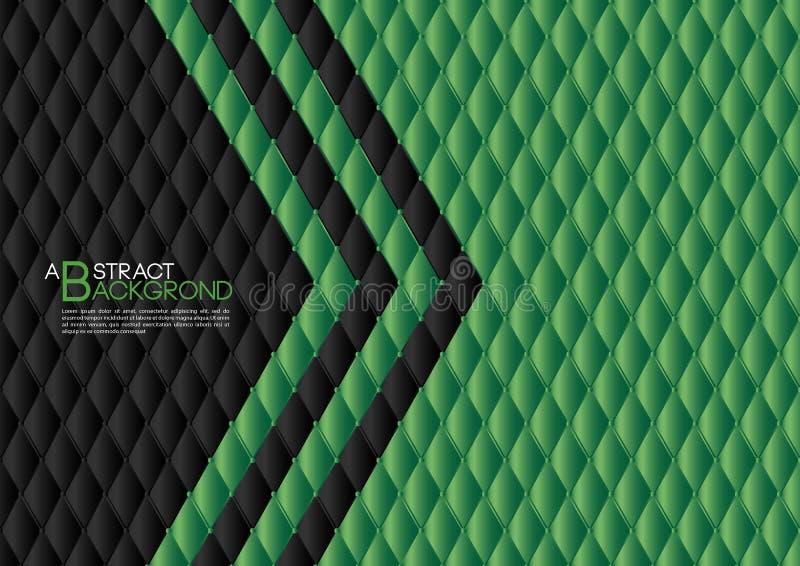 Ilustração preta do vetor do fundo do sumário do coração, disposição verde do molde de tampa, inseto do negócio, textura de couro ilustração royalty free